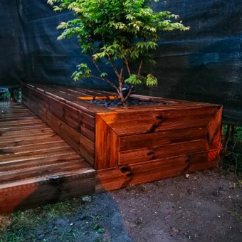 Lame de terrasse pin autoclavé brun 2 faces lissses longueur 4m