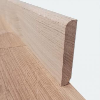 Plinthe chêne brut bord arrondi 12 x 70mm